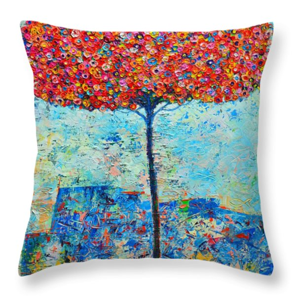 BLOOMING BEYOND KNOWN SKIES - THE TREE OF LIFE - ABSTRACT CONTEMPORARY ORIGINAL OIL PAINTING Throw Pillow by ANA MARIA EDULESCU