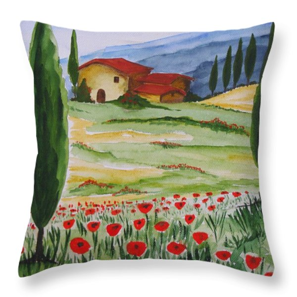 Blooming Poppy In Tuscany Throw Pillow by Christine Huwer