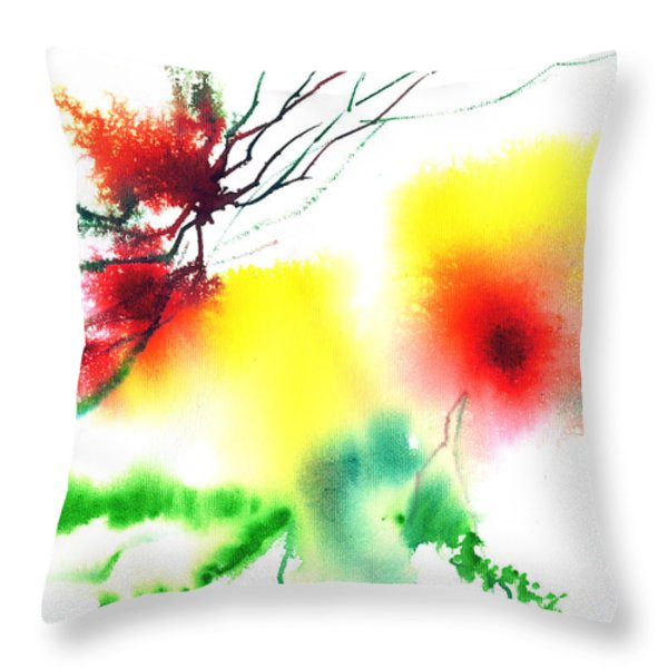 Blooms 3 Throw Pillow by Anil Nene