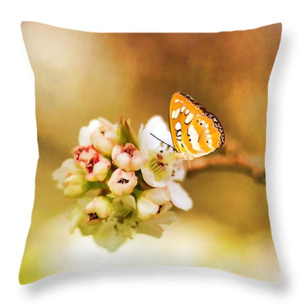 Blooms And Butterflies Throw Pillow by Darren Fisher