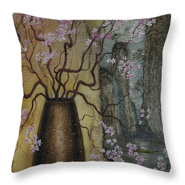 Blossom Throw Pillow by Vrindavan Das