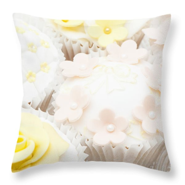 Blossoms and Bows Cupcake Throw Pillow by Anne Gilbert