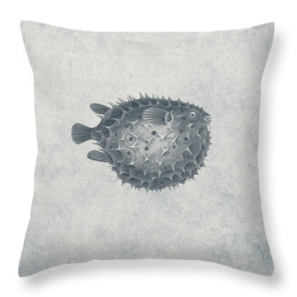 Blowfish - Nautical Design Throw Pillow by World Art Prints And Designs