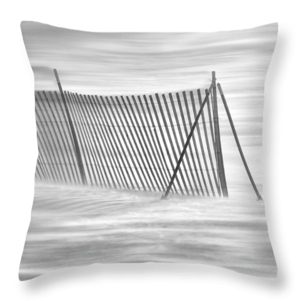 Blowing Snow At Snow Fence Throw Pillow by Dan Friend