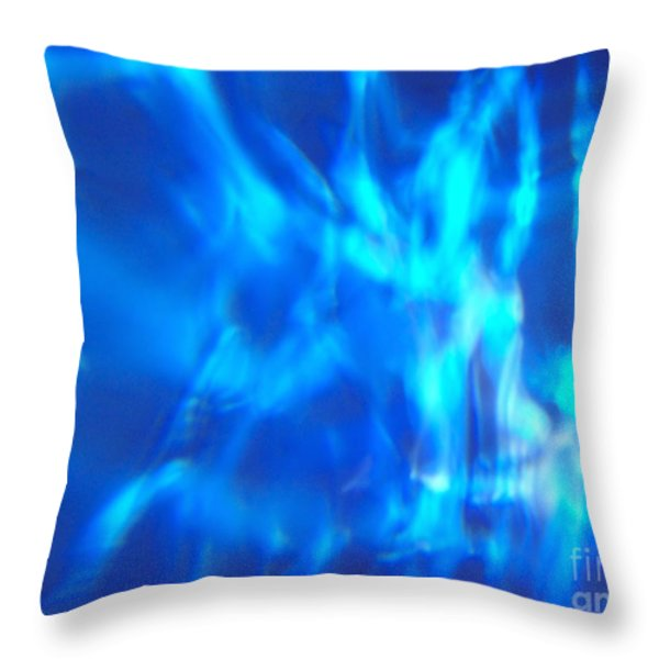 Blue Abstract 2 Throw Pillow by Tony Cordoza