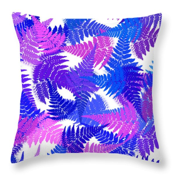 Blue Abstract Fern Leaf Pattern Art Throw Pillow by Christina Rollo