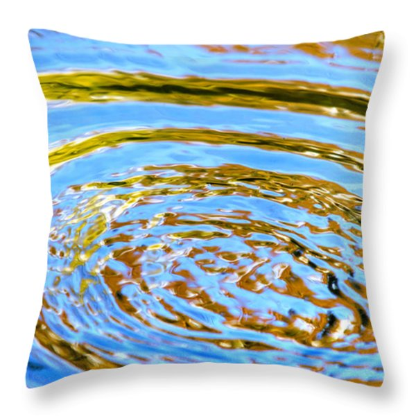 Blue And Gold Spiral Abstract Throw Pillow by Christina Rollo