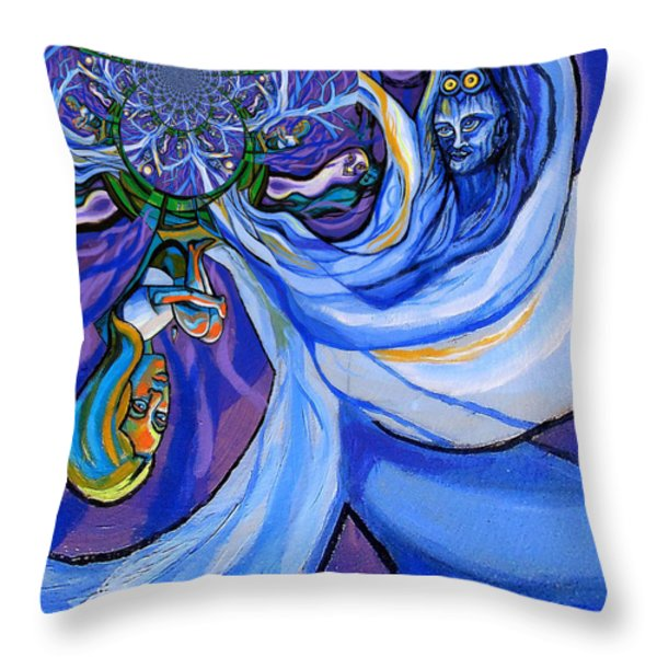 Blue and Purple Girl With Tree And Owl Upside Down Throw Pillow by Genevieve Esson