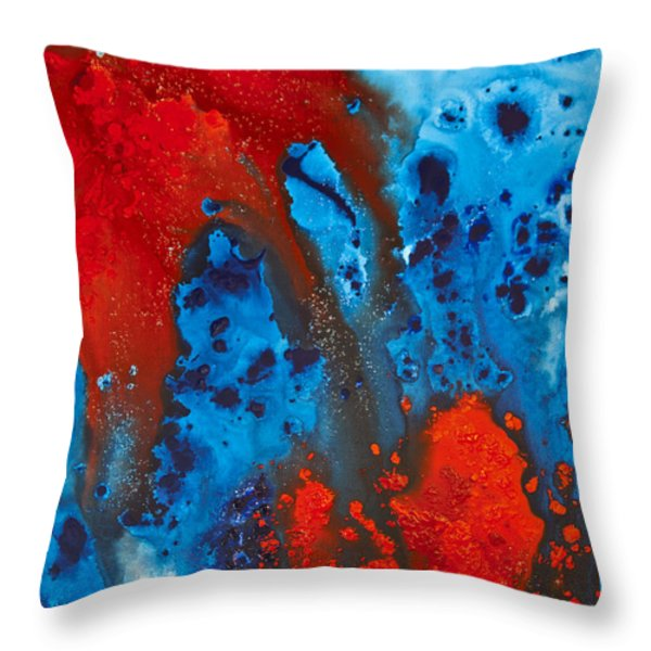 Blue And Red Abstract 3 Throw Pillow by Sharon Cummings