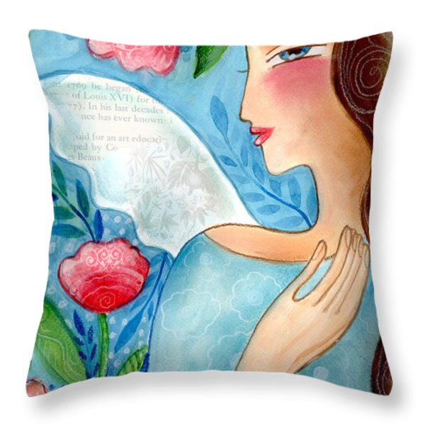 Blue  Angel Throw Pillow by Elaine Jackson