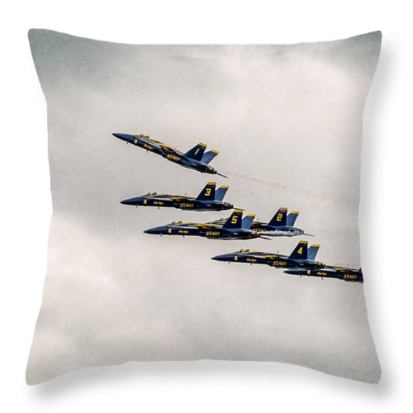 Blue Angels Throw Pillow by Eduard Moldoveanu