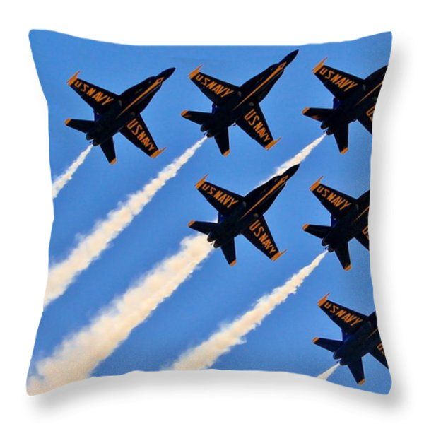 Blue Angels Overhead Throw Pillow by Benjamin Yeager