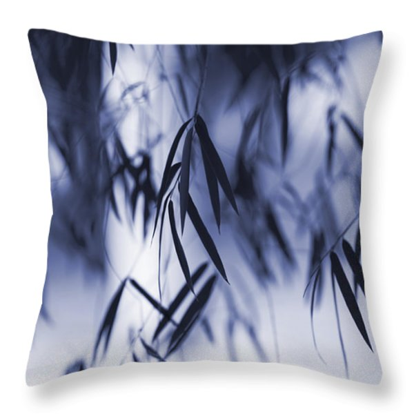 Blue Bamboo Throw Pillow by Tim Gainey