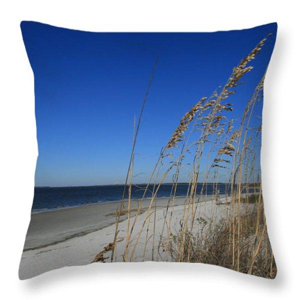 Blue Beach Throw Pillow by Barbara Marie Kraus