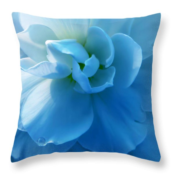 Blue Begonia Flower Throw Pillow by Jennie Marie Schell