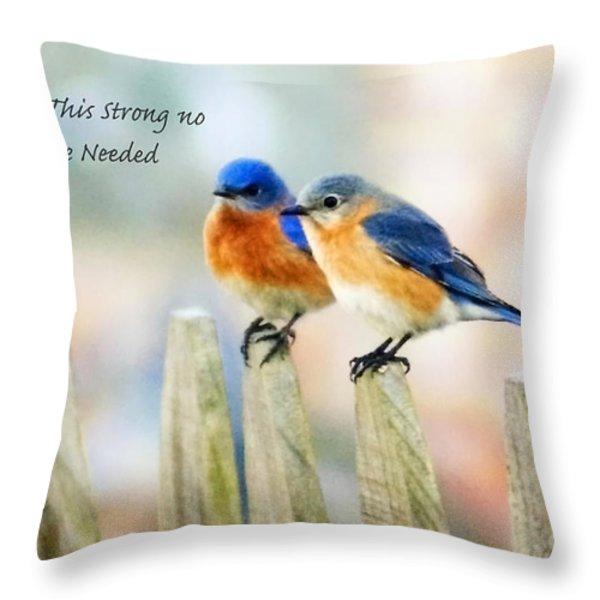 Blue Bird Love Notes Throw Pillow by Scott Pellegrin