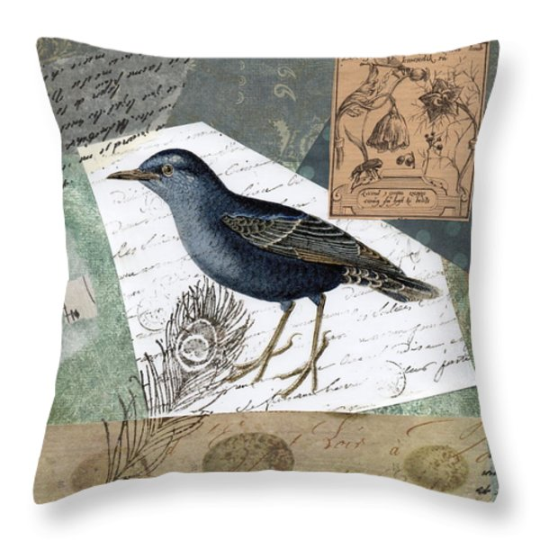 Blue Bird Study Throw Pillow by Tamyra Crossley