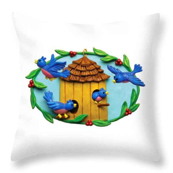 Blue Birds fly Home Throw Pillow by Amy Vangsgard
