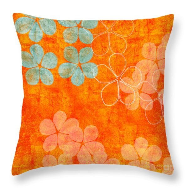 Blue Blossom on Orange Throw Pillow by Linda Woods