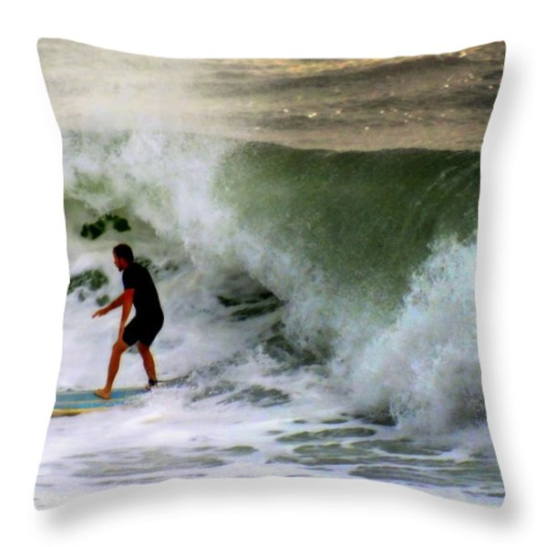 Blue Board Throw Pillow by Karen Wiles