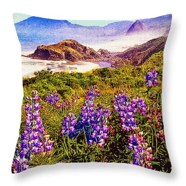 Blue Bonnets On Oregon Coastline Throw Pillow by  Bob and Nadine Johnston