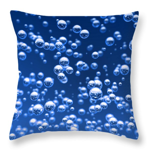 Blue bubbles Throw Pillow by Bruno Haver