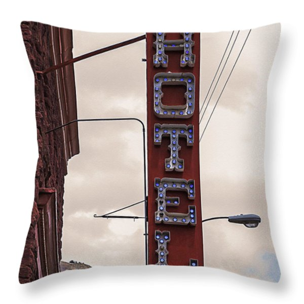 Blue Bulbs Hotel Sign Throw Pillow by Janice Rae Pariza