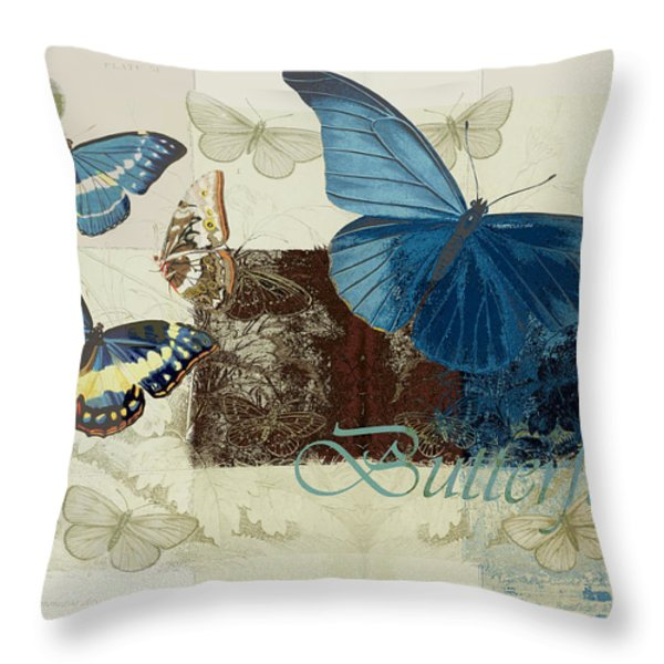 Blue Butterfly - J152164152-01 Throw Pillow by Variance Collections