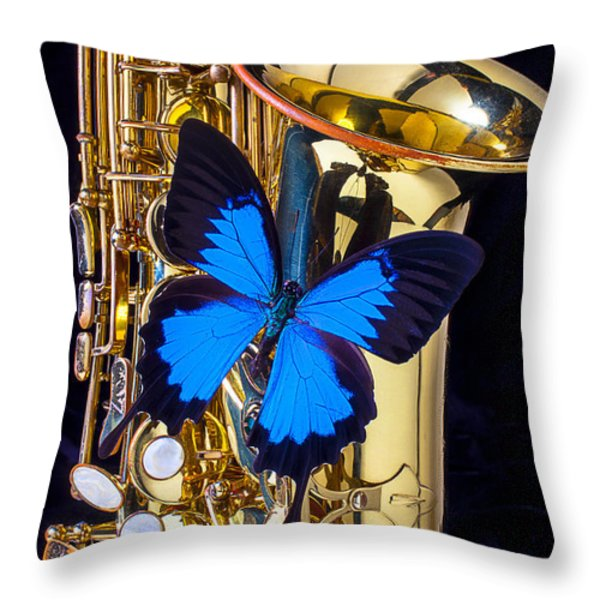 Blue Butterfly On Sax Throw Pillow by Garry Gay