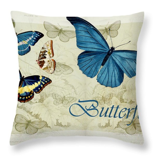 Blue Butterfly - s01a Throw Pillow by Variance Collections