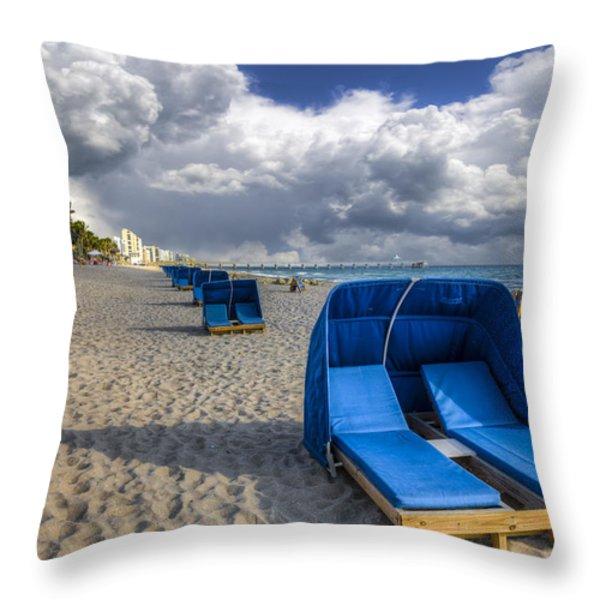 Blue Cabana Throw Pillow by Debra and Dave Vanderlaan