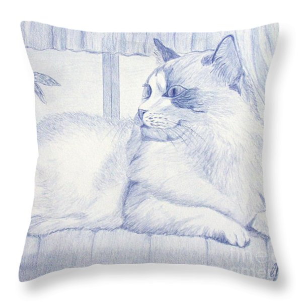 Blue Cat Throw Pillow by Cybele Chaves