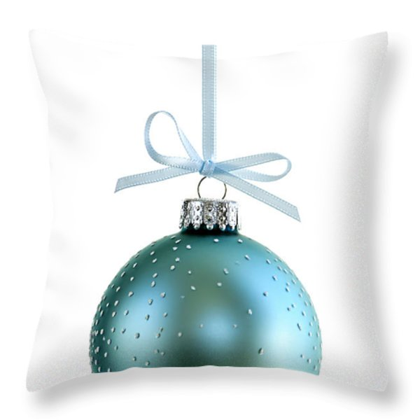Blue Christmas Ornament Throw Pillow by Elena Elisseeva