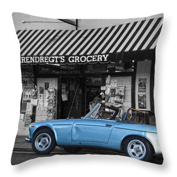 Blue Classic Car In Jamestown Throw Pillow by RicardMN Photography