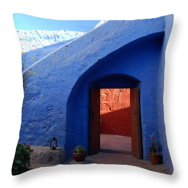 Blue courtyard Throw Pillow by RicardMN Photography