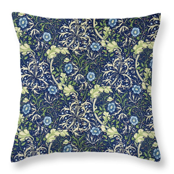 Blue Daisies Design Throw Pillow by William Morris