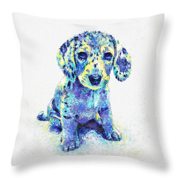 Blue Dapple Dachshund Puppy Throw Pillow by Jane Schnetlage