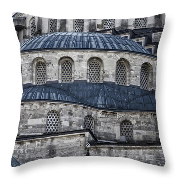 Blue Dawn Blue Mosque Throw Pillow by Joan Carroll