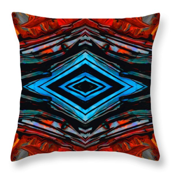 Blue Diamond Art By Sharon Cummings Throw Pillow by Sharon Cummings