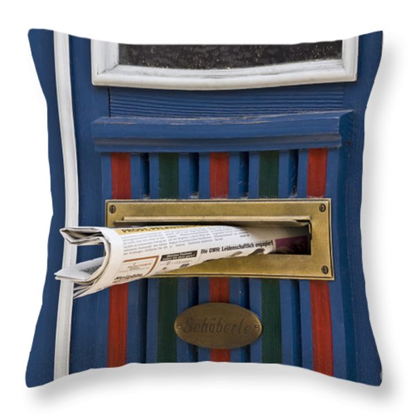 Blue Door Throw Pillow by Heiko Koehrer-Wagner