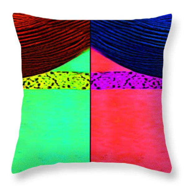 Blue Earring - Purple Lady Combo Throw Pillow by Chuck Staley
