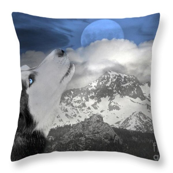 Blue Eyed and Moon Throw Pillow by Stephanie Laird