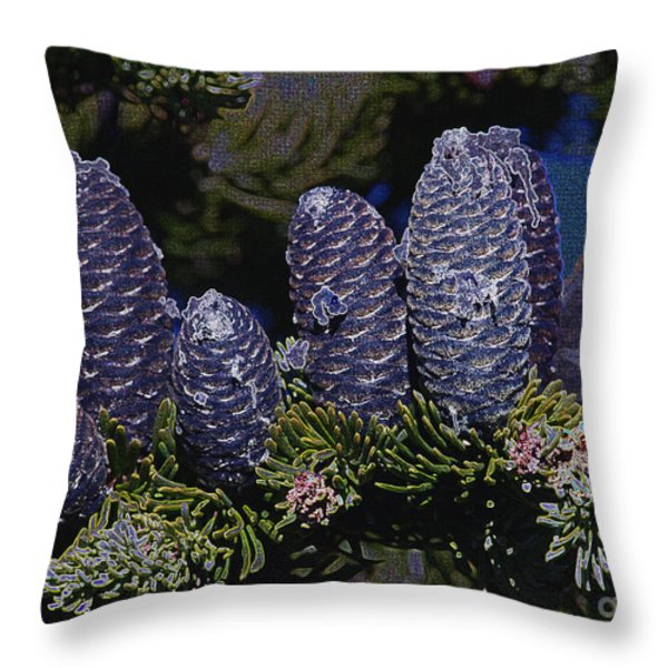 Blue Fir Cones 2 outlined Throw Pillow by Sharon  Talson
