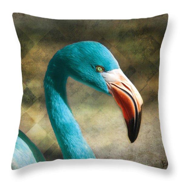 Blue Flamingo Throw Pillow by Barbara Orenya