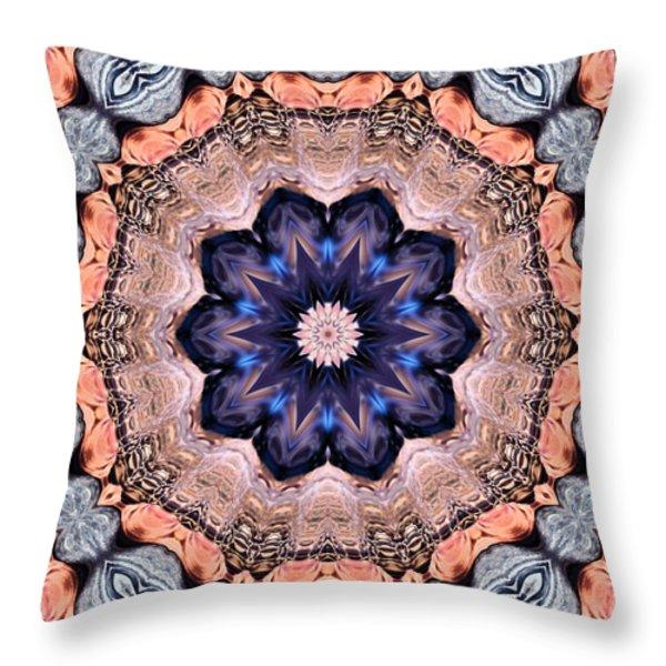 Blue Flora Mandala Throw Pillow by Kristin Elmquist