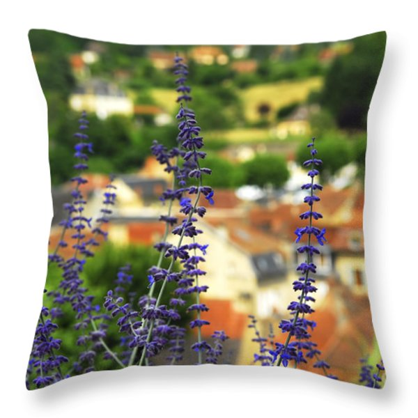 Blue Flowers And Rooftops In Sarlat Throw Pillow by Elena Elisseeva
