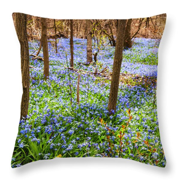 Blue flowers in spring forest Throw Pillow by Elena Elisseeva
