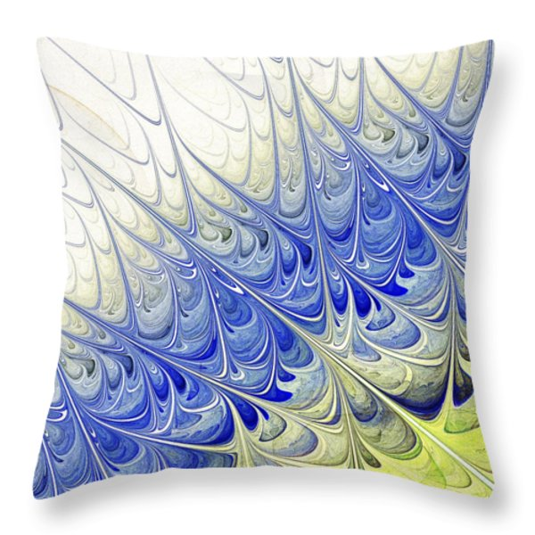 Blue Folium Throw Pillow by Anastasiya Malakhova