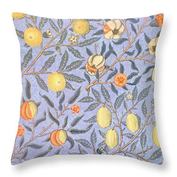 Blue Fruit Throw Pillow by William Morris