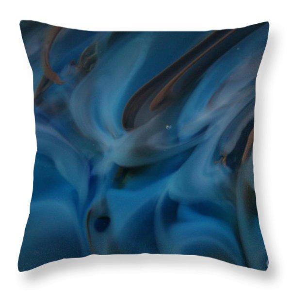 Blue Glass Waves Throw Pillow by Kimberly Lyon
